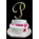 Gold Letter P Rhinestone Cake Topper Decoration