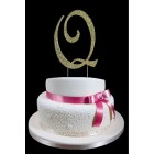 Gold Letter Q Rhinestone Cake Topper Decoration