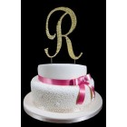 Gold Letter R Rhinestone Cake Topper Decoration