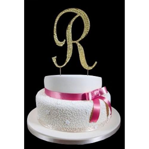 gold letter r rhinestone cake topper decoration
