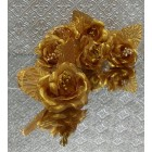 12 Gold or Silver Roses Organza Craft Project Flowers Favors Craft Supplies