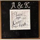 Black and White Guest Book Sign with Two Rhinestone Letter Initials with & Sign