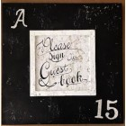 Black and White Guest Book Sign Sweet 15 with Rhinestone Number Gift Keepsake