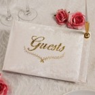 Elegant All Occasion Guest Book and Pen Gold Lettering