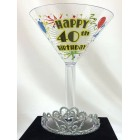 40th Birthday or Anniversary Champagne Glass with Tiara