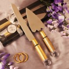 Cake Knife and Server Set with Gold Handles Weddings, Anniversary Sweet 16 Occasions