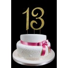 Gold Number 13 Rhinestone Cake Topper Decoration