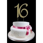 Gold Number 16 Rhinestone Cake Topper Decoration