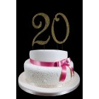 Gold Number 20 Rhinestone Cake Topper Decoration