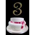 Lareg Gold Number 3 Rhinestone Cake Topper Decoration