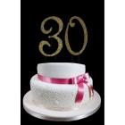 Large Gold Number 30 Rhinestone Cake Topper Decoration