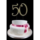 Large Rhinestone Gold Number 50 Cake Topper