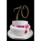 Large Rhinestone Gold Number 70 Cake Topper