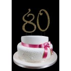 Large Rhinestone Gold Number 80 Cake Topper
