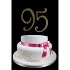 Large Rhinestone Gold Number 95 Cake Topper
