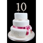 Gold Number 10 Rhinestone Cake Topper Decoration