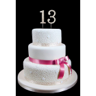 "13th Birthday Wedding Anniversary Number Cake Topper with Sparkling Rhinestone Crystals - 1.75"" Tall"