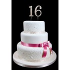 "16th Birthday Wedding Anniversary Number Cake Topper with Sparkling Rhinestone Crystals - 1.75"" Tall"