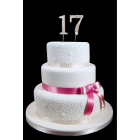 "17th Birthday Wedding Anniversary Number Cake Topper with Sparkling Rhinestone Crystals - 1.75"" Tall"