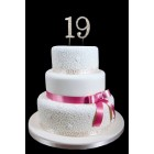 "19th Birthday Wedding Anniversary Number Cake Topper with Sparkling Rhinestone Crystals - 1.75"" Tall"