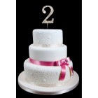 "2nd Birthday Wedding Anniversary Number Cake Topper with Sparkling Rhinestone Crystals - 1.75"" Tall"