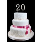 "20th Birthday Wedding Anniversary Number Cake Topper with Sparkling Rhinestone Crystals - 1.75"" Tall"