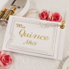 Gold Lettering Mis Quince Sweet 15 Guest Book