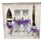 4 Piece Mis Quince Anos Cake Knife and Server Set with Champagne Toasting Glass Flutes Purple Flower Design