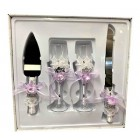 4 Piece Mis Quince Anos Cake Knife and Server Set with Champagne Toasting Glass Flutes Lavender Flower Design