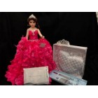 Sweet 15 Fifteen Mis Quince Anos Doll with Tiara Pillow Guest Book Cake Knife Set