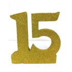 Sweet 15 Mis Quince Anos Glitter Number Cake Centerpiece Decoration Gold
