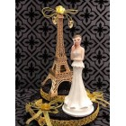 "Paris Eiffel Tower Gold Paris Theme Cake Top Sweet 16 Mis Quince Años Bridal Shower Gold Disguise 7.5"" H"