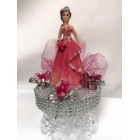 Sweet 15 Mis Quince Girl with Tiara on Clear Cake Base in Fuchsia