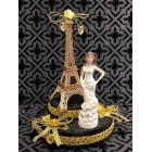 "Paris Eiffel Tower Paris Theme Cake Topper Mis Quince Años or Sweet 16 Gold 7.5"" H"