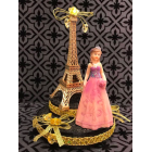 "Paris Eiffel Tower Paris Theme Cake Top Sweet 16 Mis Quince Años Bridal Shower Pink 7.5"" H"