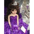 Large Purple Mis Quince Anos Doll with Silver Tiara Table Centerpiece Keepsake Gift