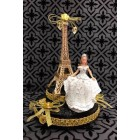 "Paris Eiffel Tower Gold Paris Theme Cake Top Sweet 16 Mis Quince Años Bridal Shower Gold 7.5"" H"