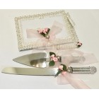 Mis Quince Anos Quinceanera Guest Book with Cake Knife Server Set