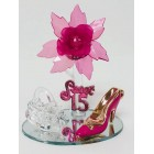 Mis Quince Anos Sweet 15 Fuchsia Acrylic Flower with High Heel Shoe Favor and Purse Gift Keepsake