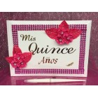 Mis Quince Anos Fuchsia Flower Guest Book Favor Keepsake