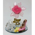 Mis Quince Anos Sweet 15 Pink Acrylic Flower with High Heel Shoe Favor and Purse Gift Keepsake