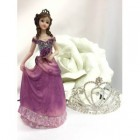 "Sweet 16 Mis Quince Anos 15 Birthday Cake Top Figurine Decoration Purple 7 1/2"" H"