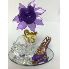 Mis Quince Anos Sweet 15 Purple Acrylic Flower with High Heel Shoe Favor and Purse Gift Keepsake