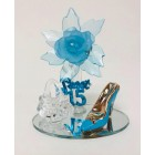 Mis Quince Anos Sweet 15 Turquoise Acrylic Flower with High Heel Shoe Favor and Purse Gift Keepsake