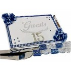 Mis Quince Anos Birthday Rhinestone Number Sweet 15 Guest Book Royal Blue Flowers Rhinestone Decoration Gift Keepsake
