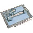 Mis Quince Anos Birthday Tiara Blue Guest Book with Pen