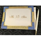 Mis Quince Anos Sweet 15 Blue and Gold Rhinestone Signature Guest Book Keepsake