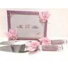 Mis Quince Anos Pink Guest Book with Pen Cake Knife and Server Sweet 15 Spanish Birthday