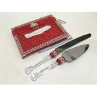 Mis Quince Anos Quinceanera Birthday Red Guest Book With Cake Knife And Server Set