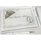 Mis Quince Años or Sweet 16 Guest Book with Tiara Decoration Monogram Letter Signature Book